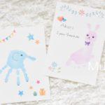 手形アート青いゾウとピンクのうさぎ